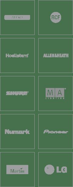 Herstellerübersicht: TWAudio, RCF, Hoellstern, Allen&Heath, Shure, MA Lighting, Numark, Pioneer, Martin, LG